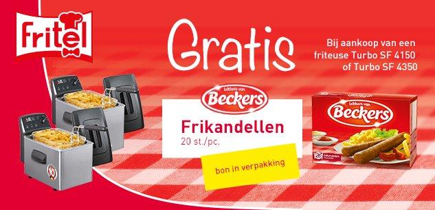 Gratis pak frikandellen 20 stuks van Beckers bij aankoop friteuse Turbo SF 4150 en 4350